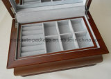 Brown Matte Finish Wood Jewelry Storage Case