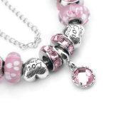 Rosafarbenes Kristallkronen-Armband-kreative Form DIY bördelt Armband