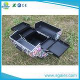 Caisse en aluminium personnalisée colorée de renivellement de clou de beauté d'exportation, cas cosmétique