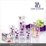 O jarro 7PCS de vidro decorado ajustou-se com decalque