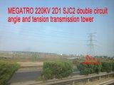 Doppia torretta della trasmissione di angolo e di tensionamento di circuito di Megatro 220kv 2D1 Sjc2