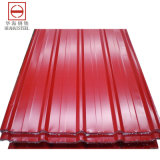 Hoja de acero del material para techos acanalado (galvanizada/cubrió)