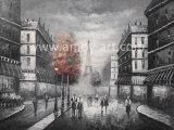 Scene nere della via di Parigi con le pitture rosse di arte della tela di canapa dell'albero