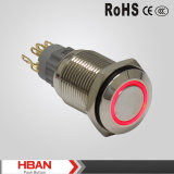 세륨 ISO9001 19mm IP67는 누름단추식 전쟁 스위치를 걸쇠를 거는 반지 LED 빛을 방수 처리한다