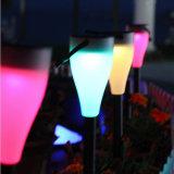 Lumière décorative actionnée solaire colorée de jardin de nuit de lampe d'horizontal de DEL