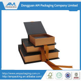 Presentation luxuoso Chocolate Hinged Packaging Paper Chocolate Box com Ribbon Close