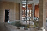 Klassisches elegantes Amerika-Art Edelstahl-festes Holz-Treppenhaus