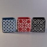 Supporto di candela di ceramica quadrato con la verniciatura rossa