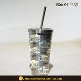 304 tazze inossidabili della boccetta di vuoto di Gray d'argento con paglia