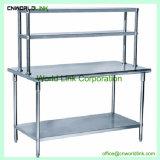 上りの棚が付いている熱い販売のステンレス鋼のキッチン・テーブル