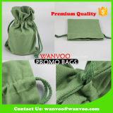 Coulisse de coton vert thé café sac d'emballage cadeau