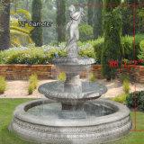 Jardin fontaine en marbre sculpté à la main avec une belle dame (GSF-149)