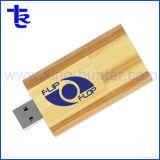 Faire pivoter la mémoire flash USB boisées de l'érable dur avec logo gravé