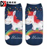 Precioso Unicornio de cartón impreso sublimación calcetines calcetines de tubo de tobillo