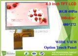 4.3 Polegada 480x272 RGB Opção pin 40 painel táctil, ecrã TFT LCD
