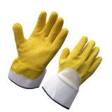 С покрытием из хлопка Желтый латекс рабочие перчатки для тяжелого режима работы