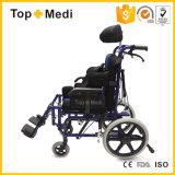 Cadeira de rodas de alumínio de reclinação Foldable da paralisia cerebral de equipamento 2017 médico para a inutilização