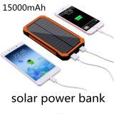 강한 플래쉬 등 이중 USB를 가진 야영 태양 충전기 15000mAh 태양 에너지 은행