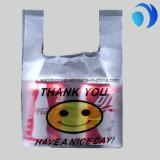 주문을 받아서 만들어진 슈퍼마켓 쇼핑 포장 HDPE t-셔츠 플라스틱은 자루에 넣는다 미소 부대를 감사한다