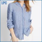 Рубашка втулки маленькая чисто полотна Striped длинняя