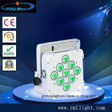무선 배터리 전원을 사용하는 9PCS 18W RGBWA UV 6in1 편평한 LED 동위 DMX512 LED 단계 점화 직업적인 DJ는 점화한다