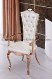 Neuer Entwurfs-Rosen-goldener Edelstahl, der Stuhl mit Armlehne speist