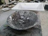 Polished круглый черный мраморный каменный тазик раковины/мытья для ванной комнаты/кухни