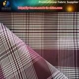 Ткань полиэфира, катионоактивный ткань шотландки, 2 вида пряжи, 2 цвета сплетенная ткань
