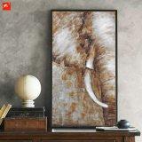 象のキャンバスの半分の野性生物の油絵