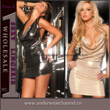 Sexy transparente as mulheres quente Sexy vestido de Lingerie Couro PU (TLQZ11429)