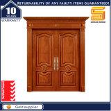 Modèle moderne extérieur de porte de double panneau en bois solide