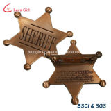 Customized Metal Logo Antique Copper Sheriff Star Badge