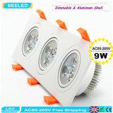 9W는 백색 사각 알루미늄 고성능 Dimmable LED Downlight를 냉각한다