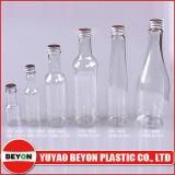 Botella plástica Shaped clara del animal doméstico de la botella de vino 60ml con la tapa de aluminio