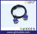 モニタまたはProjetor (J002)のための15mの高品質の男性または男性3+6 VGAケーブル