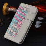 Сплетенный случай телефона бумажника PU кожаный с гнездом для платы для iPhone