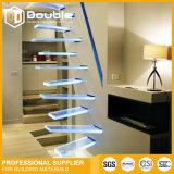 Sich hin- und herbewegender LED gerader Treppenhaus-Glasinnenraum des modernen Entwurfs-