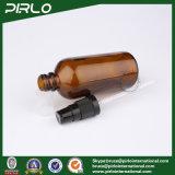 frascos de vidro ambarinos do pulverizador 100ml com o pulverizador preto da loção
