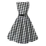 Impressão Audrey Hepburn de Rockabilly Houndstooth mais o vestido do algodão do tamanho para senhoras