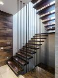 Escalier flottant en bois à LED avec barrière en verre Balustrade en acier inoxydable