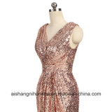 Demoiselle d'honneur robes une ligne V-Neck Backless Floor-Length paillettes robe longue partie