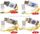 青および白い磁器USBのフラッシュ駆動機構2.0 16g