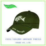 Casquillo verde oliva del deporte del bordado de la tela cruzada 3D del algodón de la manera