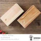 Hongdao modificó el embalaje de madera del vino para requisitos particulares del regalo del pino inacabado que deslizaba el _E del rectángulo de la tapa
