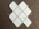 Bianco de mármol blanco, el patrón de chorro de agua Diamante mosaico de azulejos de pared