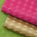 多彩なパテントの格子印刷模造PUの革、エナメルを塗られた袋の革