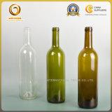 高品質のステッカーの深緑色のガラスワイン・ボトル(153)