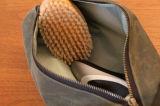 يشخّص رجال سفر يحلق عدة مع جيب داخليّ نوع خيش مسيكة