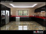 Welbom hohes Glanz-Schwarzes gebogene Küche-Schrank-Möbel