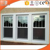 Madera maciza de estilo europeo, la ventana de colgado doble, triple vidrio esmaltado Revestimiento en polvo de madera de roble de la ventana de aluminio